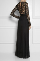 Temperley London Long Lily lace and silk-blend chiffon gown
