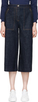 Kenzo Blue Cropped Wide-leg Jeans