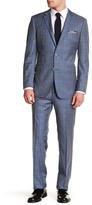 English Laundry Blue Plaid Two Button Notch Lapel Trim Fit Suit