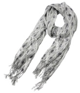 White Purple and Silver Peacock-Print Scarf