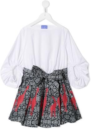 Stella Jean Kids Contrast-Panel Midi Dress