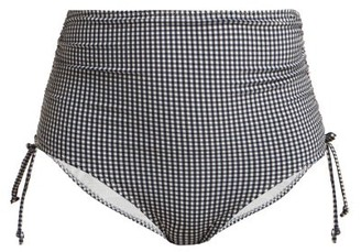 Belize - Alice High-rise Gingham Bikini Briefs - White Navy
