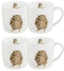 "Royal Worcester Wrendale Owl Mug ""What a Hoot"" - Set of 4"