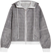 Sacai Hooded Laser-cut Prince Of Wales Checked Cotton-jacquard Jacket - Dark gray