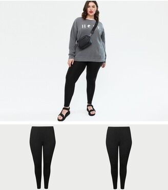 New Look Curves 2 Pack Stretch Cotton Leggings