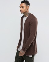 Asos Longline Cardigan in Navy & Tan Twist Cotton