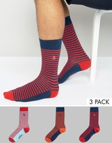 Original Penguin 3 Pack Socks Mixed Feeder Stripe Navy
