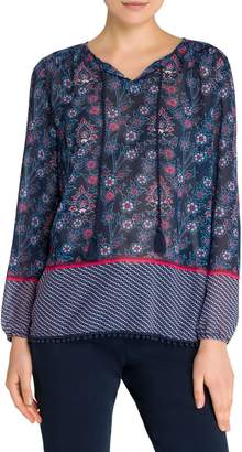 Olsen Easy Style Mixed-Print Peasant Blouse