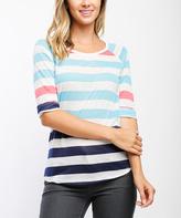 Turquoise & Navy Stripe Three-Quarter Sleeve Tee