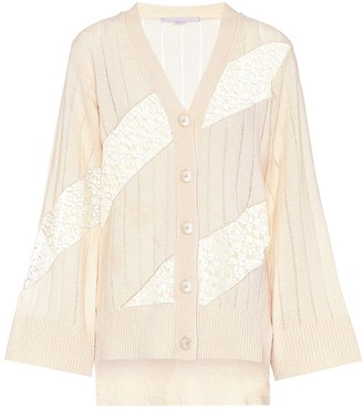 Stella McCartney Lace-trimmed cashmere cardigan