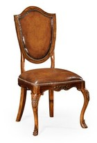 Genuine Leather Upholstered Dining Chair Jonathan Charles Fine Furniture Upholstery Color: Tan, Frame Color: Antique Mahogany