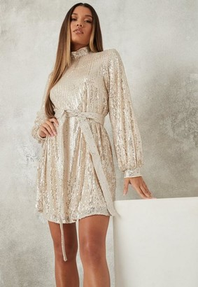 Missguided Champagne Sequin Balloon Sleeve Dress