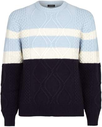 J. Lindeberg Cable-Knit Colour-Block Sweater