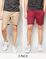 Asos 2 Pack Slim Chino Shorts In Red And Stone Save