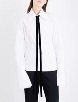 Ann Demeulemeester Wrap cotton-poplin shirt