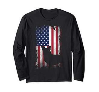 Corgi Distressed American Flag USA Patriot Dog Lover Gift Long Sleeve T-Shirt