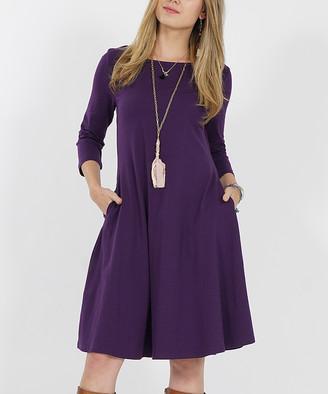 Lydiane Women's Casual Dresses DK - Dark Purple Three-Quarter Sleeve Two-Pocket Straight-Hem Dress - Women