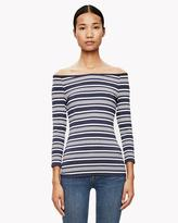Theory Striped Boat-Neck Top