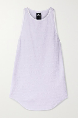 Nike Yoga Grosgrain-trimmed Ribbed Dri-fit Tank - Lavender