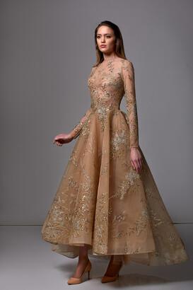 Edward Arsouni Sequin Embellished Long Sleeve Midi Dress