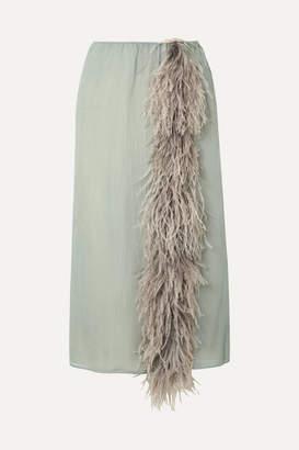 Prada Feather-trimmed Silk-georgette Skirt - Light blue