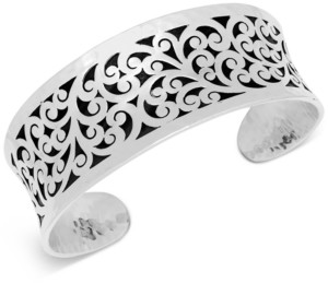 Lois Hill Concave Filigree Cuff Bracelet in Sterling Silver