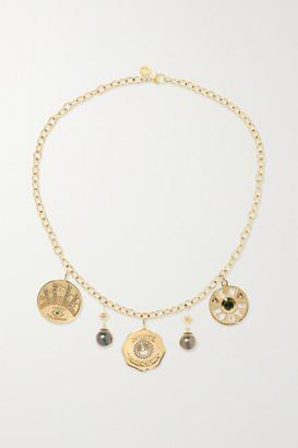 Marlo Laz Coin 14-karat Gold Multi-stone Necklace - one size