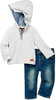 7 For All Mankind Henley Hoodie & Jean 2-Piece Set (Baby Boys)