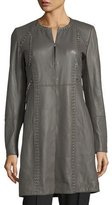 Elie Tahari Veeda Stitch-Embellished Leather Coat