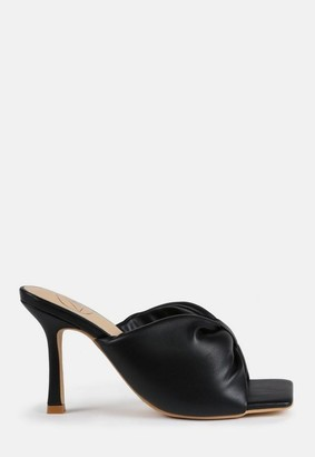 Missguided Black Faux Leather Bow Front Square Toe Heeled Mule Sandals