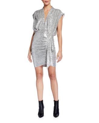 IRO Sagria Draped Metallic Cocktail Dress