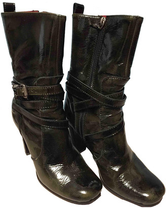 CNC Costume National Green Patent leather Ankle boots