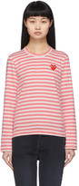 Comme des Garcons Pink and White Striped Heart Patch Long Sleeve T-Shirt