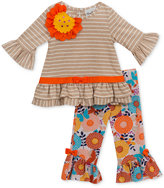 Rare Editions 2-Pc. Striped Top & Floral-Print Leggings Set, Baby Girls (0-24 months)
