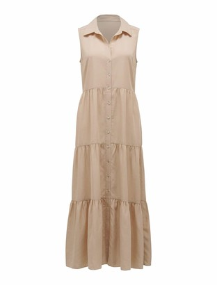Forever New Megan Sleeveless Shirt Maxi Dress - Beige - 10