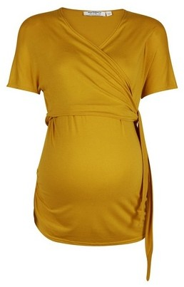 Dorothy Perkins Womens Maternity Yellow Ballet Wrap Top