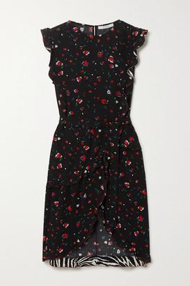 Derek Lam 10 Crosby Lyra Ruffled Printed Crepe Wrap Dress - Black