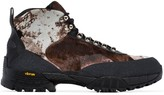 1017 ALYX 9SM black and brown Camo Pony Skin boots