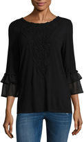 Liz Claiborne 3/4 Sleeve Scoop Neck T-Shirt-Womens