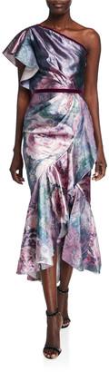 Marchesa Notte Metallic Jacquard One-Shoulder Tea Length Dress w/ Ruffle Detailing