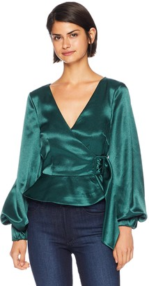 Finders Keepers findersKEEPERS Women's Songbird Long Sleeve Wrap Top with Belt Detail