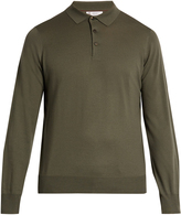 Brunello Cucinelli Long-sleeved wool and cashmere-blend polo shirt