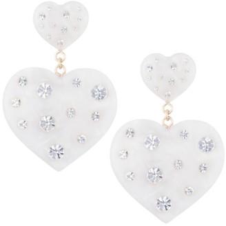 Dannijo Amante Mother-Of-Pearl & Crystal Heart Drop Earrings