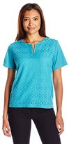 Alfred Dunner Women's Petite Lace Knit Top