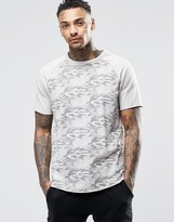 Asos Skater T-shirt With Camo Print And Raw Edge