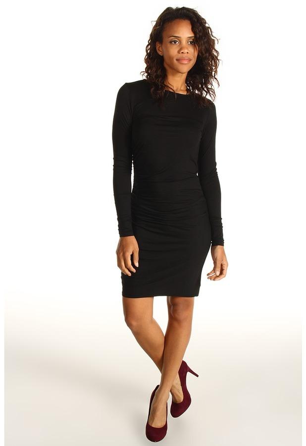 Three Dots L/S Shirred Dress (Black) - Apparel