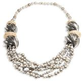 Alexis Bittar Lucite Crystal-Encrusted Sculptural Multi-Strand Pearl Necklace