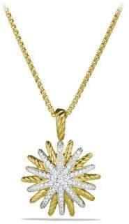David Yurman Staburst Small Pendant with Diamonds in Gold on Chain