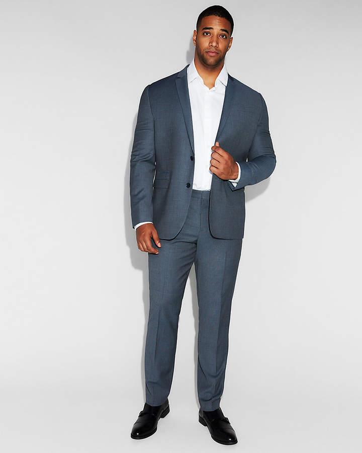 Express Slim Blue Mini Check Wool Suit Pant