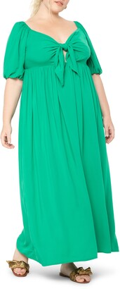 ELOQUII Tie Front Maxi Dress
